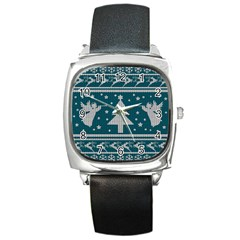 Ugly Christmas Sweater Square Metal Watch by Valentinaart