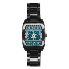 Ugly Christmas Sweater Stainless Steel Barrel Watch by Valentinaart