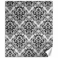 Damask1 Black Marble & White Leather Canvas 20  X 24   by trendistuff