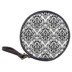 Damask1 Black Marble & White Leather Classic 20 Cd Wallets by trendistuff