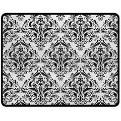 Damask1 Black Marble & White Leather Double Sided Fleece Blanket (medium)  by trendistuff