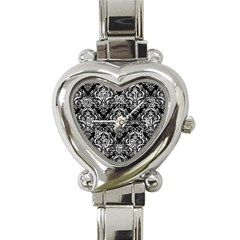 Damask1 Black Marble & White Leather (r) Heart Italian Charm Watch by trendistuff