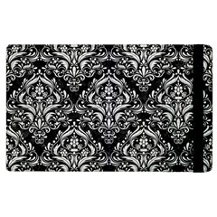 Damask1 Black Marble & White Leather (r) Apple Ipad 3/4 Flip Case by trendistuff