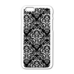 Damask1 Black Marble & White Leather (r) Apple Iphone 6/6s White Enamel Case by trendistuff