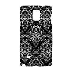 Damask1 Black Marble & White Leather (r) Samsung Galaxy Note 4 Hardshell Case by trendistuff
