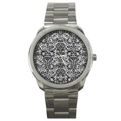 Damask2 Black Marble & White Leather Sport Metal Watch by trendistuff