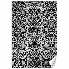 Damask2 Black Marble & White Leather Canvas 20  X 30   by trendistuff