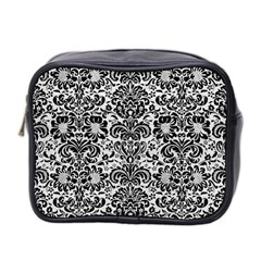 Damask2 Black Marble & White Leather Mini Toiletries Bag 2 Side by trendistuff