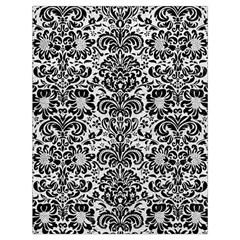 Damask2 Black Marble & White Leather Drawstring Bag (large) by trendistuff