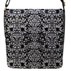 Damask2 Black Marble & White Leather (r) Flap Messenger Bag (s) by trendistuff