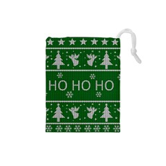 Ugly Christmas Sweater Drawstring Pouches (small)  by Valentinaart