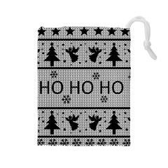 Ugly Christmas Sweater Drawstring Pouches (large)  by Valentinaart