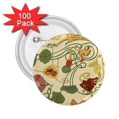 Floral Art Nouveau 2 25  Buttons (100 Pack)  by 8fugoso