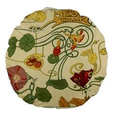 Floral Art Nouveau Large 18  Premium Round Cushions by 8fugoso