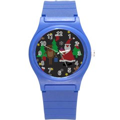 Ugly Christmas Sweater Round Plastic Sport Watch (s) by Valentinaart