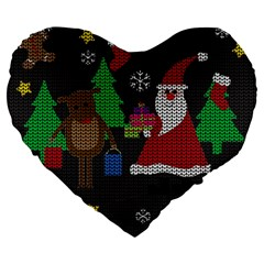 Ugly Christmas Sweater Large 19  Premium Flano Heart Shape Cushions by Valentinaart