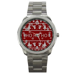 Ugly Christmas Sweater Sport Metal Watch by Valentinaart