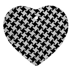 Houndstooth2 Black Marble & White Leather Ornament (heart) by trendistuff