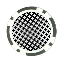 Houndstooth2 Black Marble & White Leather Poker Chip Card Guard by trendistuff