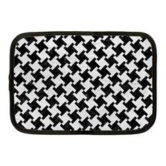 Houndstooth2 Black Marble & White Leather Netbook Case (medium)  by trendistuff