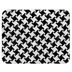 Houndstooth2 Black Marble & White Leather Double Sided Flano Blanket (medium)  by trendistuff