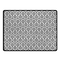 Hexagon1 Black Marble & White Leather Double Sided Fleece Blanket (small)  by trendistuff