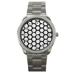 Hexagon2 Black Marble & White Leather Sport Metal Watch by trendistuff