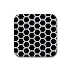 Hexagon2 Black Marble & White Leather (r) Rubber Square Coaster (4 Pack)  by trendistuff