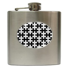 Puzzle1 Black Marble & White Leather Hip Flask (6 Oz) by trendistuff