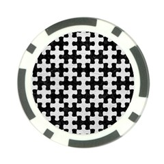 Puzzle1 Black Marble & White Leather Poker Chip Card Guard by trendistuff