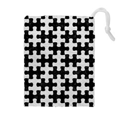 Puzzle1 Black Marble & White Leather Drawstring Pouches (extra Large)