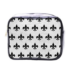 Royal1 Black Marble & White Leather (r) Mini Toiletries Bags by trendistuff