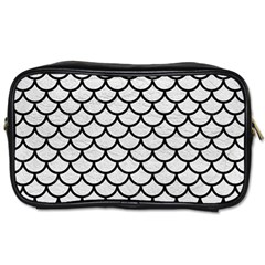 Scales1 Black Marble & White Leather Toiletries Bags by trendistuff