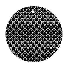 Scales2 Black Marble & White Leather (r) Ornament (round) by trendistuff