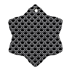 Scales2 Black Marble & White Leather (r) Snowflake Ornament (two Sides) by trendistuff