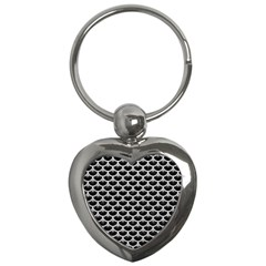 Scales3 Black Marble & White Leather (r) Key Chains (heart)  by trendistuff
