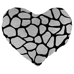 Skin1 Black Marble & White Leather (r) Large 19  Premium Flano Heart Shape Cushions by trendistuff