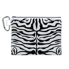 Skin2 Black Marble & White Leather Canvas Cosmetic Bag (l)