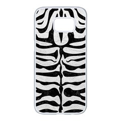 Skin2 Black Marble & White Leather Samsung Galaxy S7 Edge White Seamless Case by trendistuff