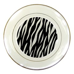 Skin3 Black Marble & White Leather (r) Porcelain Plates by trendistuff