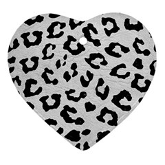 Skin5 Black Marble & White Leather (r) Ornament (heart) by trendistuff