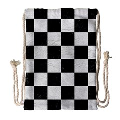 Square1 Black Marble & White Leather Drawstring Bag (large) by trendistuff