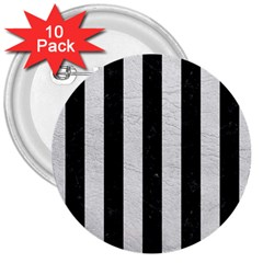 Stripes1 Black Marble & White Leather 3  Buttons (10 Pack)  by trendistuff