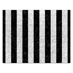 Stripes1 Black Marble & White Leather Rectangular Jigsaw Puzzl by trendistuff