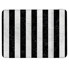 Stripes1 Black Marble & White Leather Samsung Galaxy Tab 7  P1000 Flip Case by trendistuff