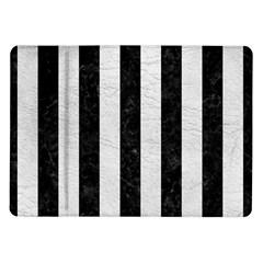 Stripes1 Black Marble & White Leather Samsung Galaxy Tab 10 1  P7500 Flip Case by trendistuff