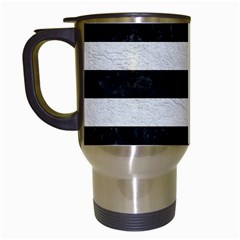 Stripes2 Black Marble & White Leather Travel Mugs (white) by trendistuff