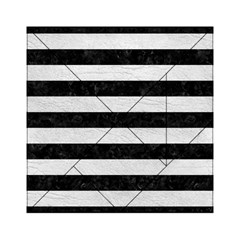Stripes2 Black Marble & White Leather Acrylic Tangram Puzzle (6  X 6 ) by trendistuff