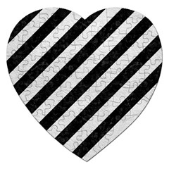 Stripes3 Black Marble & White Leather (r) Jigsaw Puzzle (heart) by trendistuff