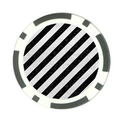 Stripes3 Black Marble & White Leather (r) Poker Chip Card Guard by trendistuff